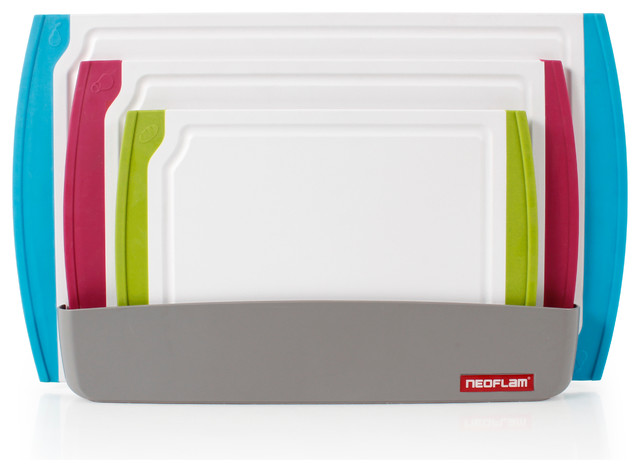 Neoflam Coded 4-Piece Cutting Board Set with Organizer