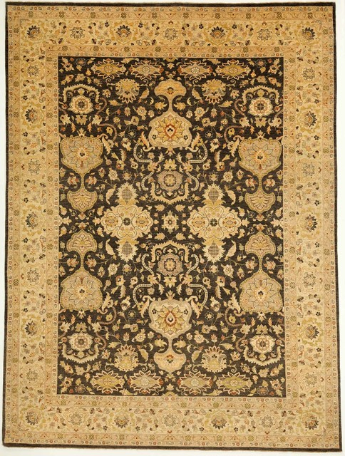 Black And Tan Area Rugs traditional chobi ziegler rug with borders black and tan 8.11x11.9