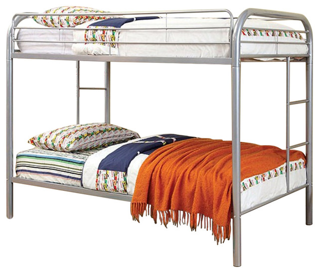 Spacious Metal Bunk Bed, Silver.
