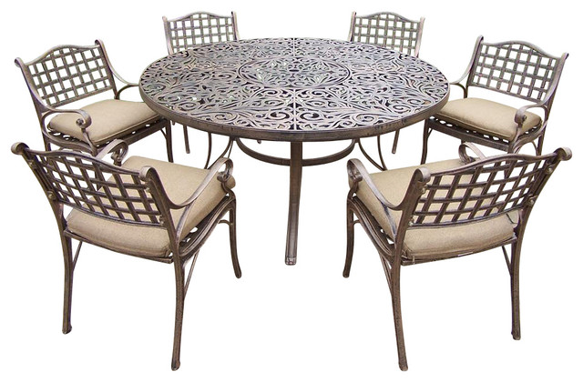 living 7 pc round patio dining table set patio furniture and outdoor