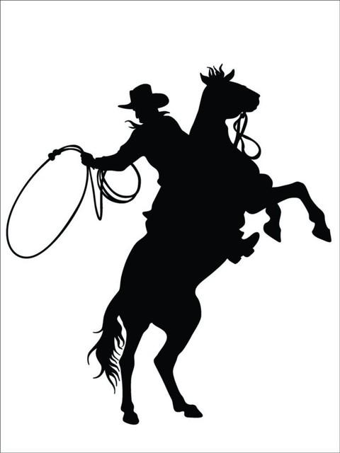 "Cowboy & Horse Western Animal Vinyl Decal, 21x21""."