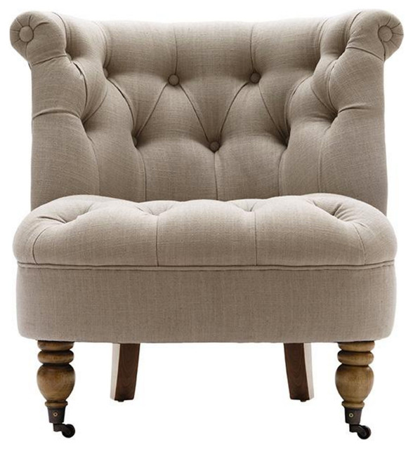 Tufted Armless Accent Chair - Transitional - Armchairs And ...