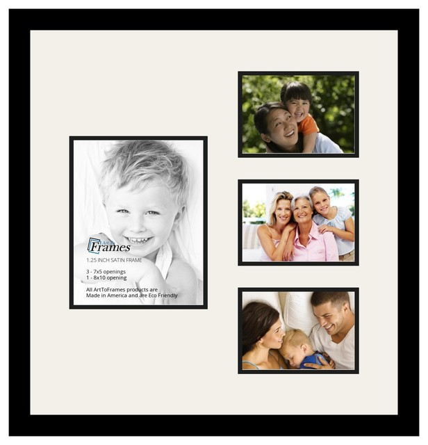 arttoframes collage photo frame with 1 8x10 and 3 5x7 openings and satin bl