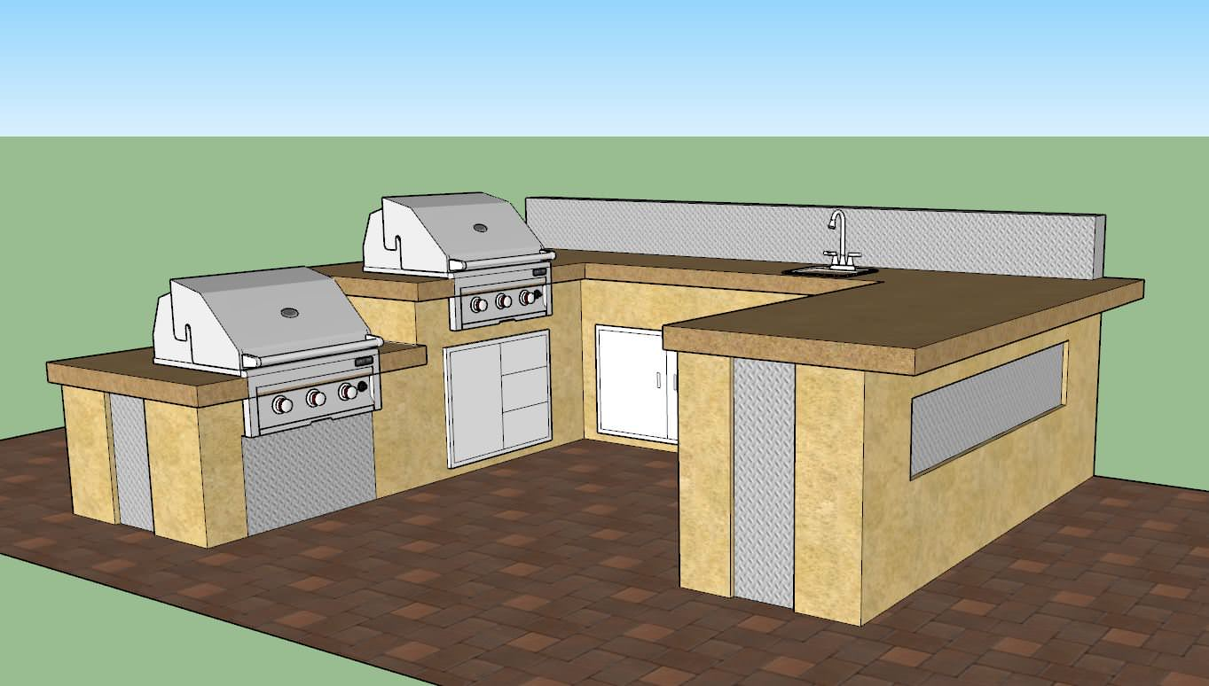 Outdoor Kitchen Island and Backdrop