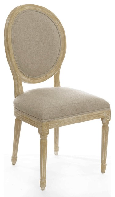 Vintage Style French Round Upholstered Side Dining Chairs Set Of 4 Traditional