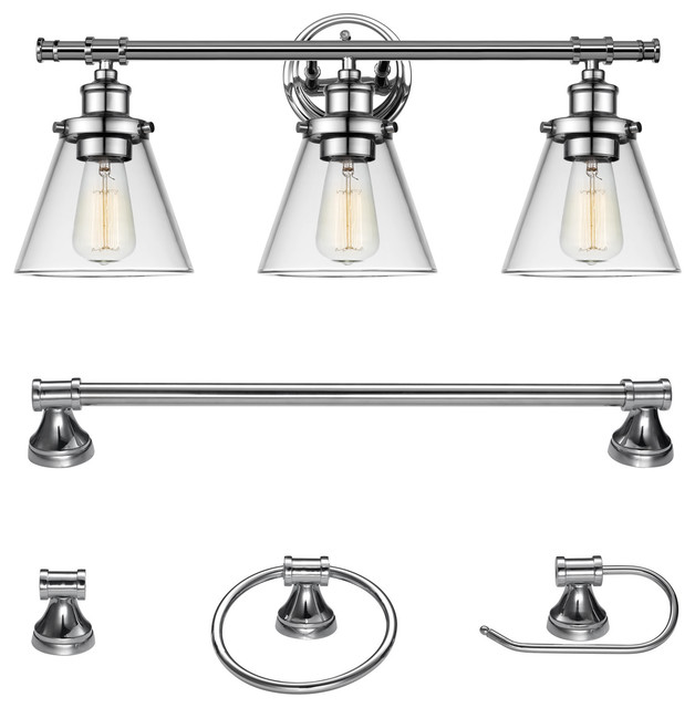 Finch 5-Piece Bathroom Light And Bar Set, Chrome.