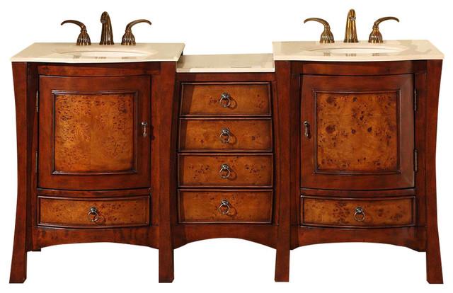 """Esme Double Sink Bathroom Vanity, Cream Marfil Marble Top, 67""""."""