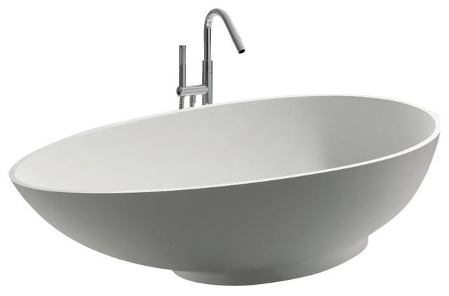 "Adm Oval Freestanding Bathtub, Glossy White, 70.9""."