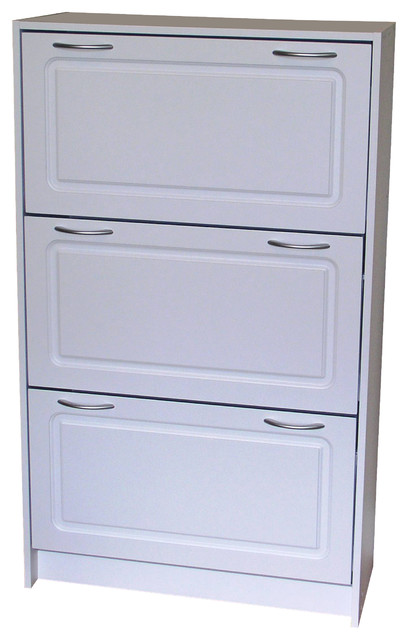 Exceptional Deluxe Triple Shoe Cabinet, White