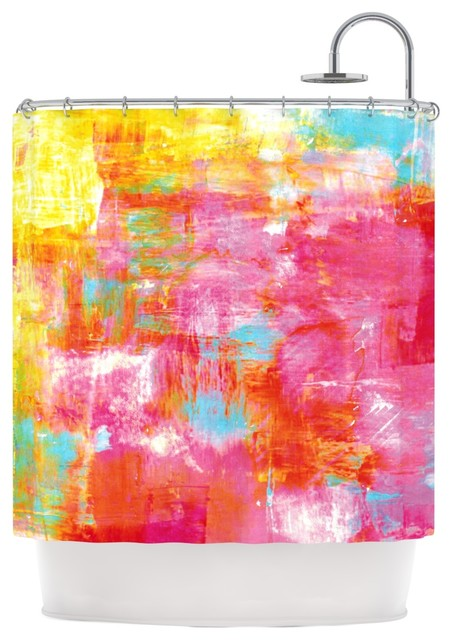 Ebi Emporium Off the Grid III Pink Yellow Shower Curtain