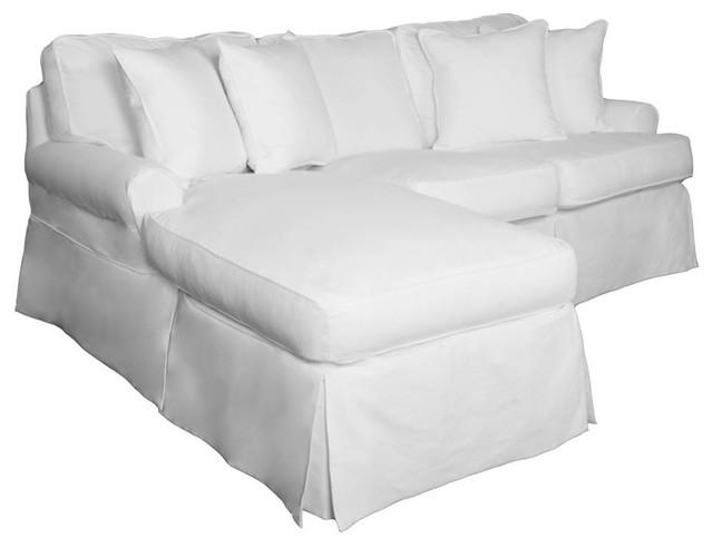 Slipcovered Sleeper Sofa With Reversible Chaiseperformance Fabric White
