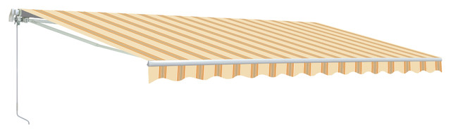 Aleko Retractable Motorized Awning, 16&x27;x10&x27;, Multistripe Yellow.
