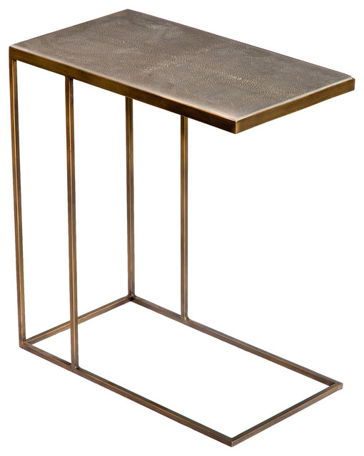 Exceptionnel Hinge Industrial Loft Faux Shagreen Brass Side Table
