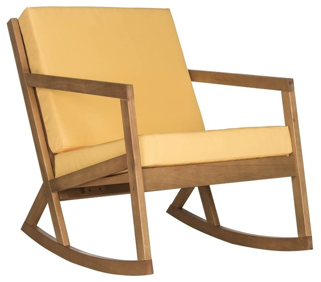 Vernon Rocking Chair In Teak Brown And Yellow