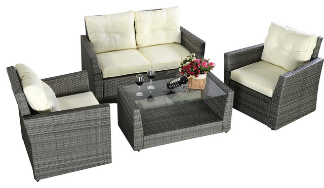 4 Piece Outdoor Wicker Rattan Furniture Set, Gray Tropical Outdoor Lounge