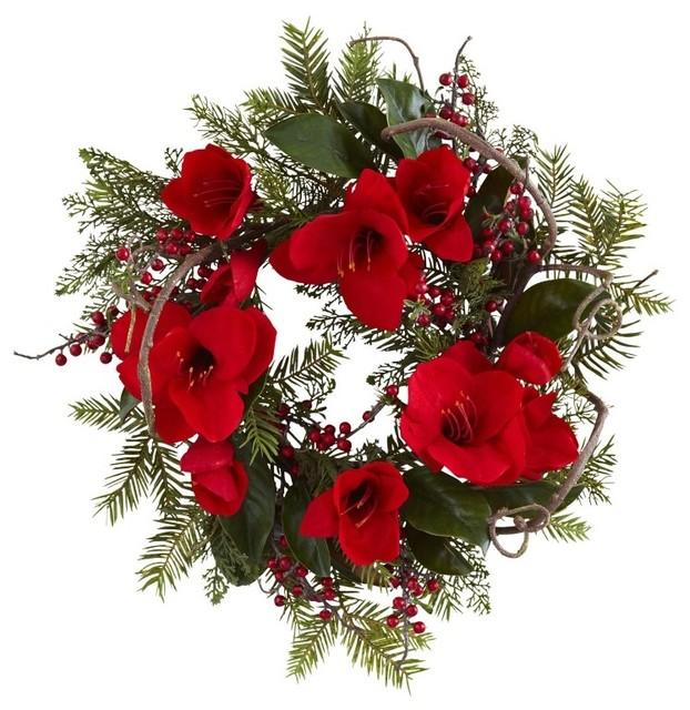 24 Amaryllis Wreath, Red.