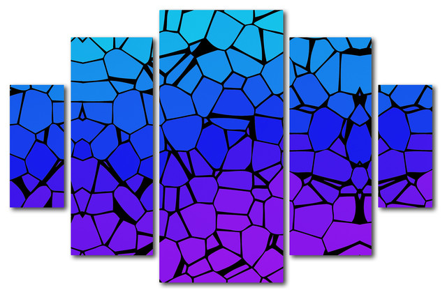 'Crystals of Blue and Purple' Multi-Panel Canvas Art Set by Masters Fine Art