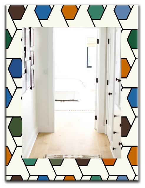 Designart Honeycomb 7 Midcentury Frameless Wall Mirror Contemporary Bathroom Mirrors By Design Art Usa