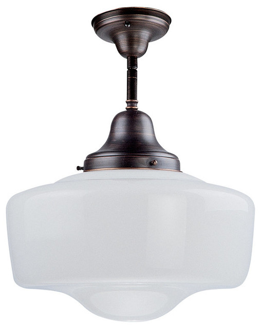 Dvi Lighting Dvp7511 Schoolhouse 1 Light Semi Flush Ceiling Fixture.