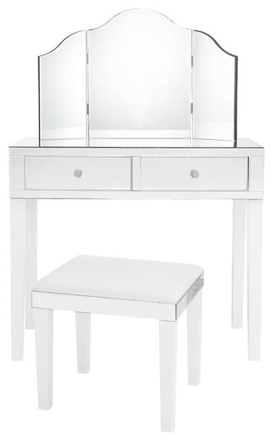 Venecia 3-Piece Vanity Set With Trifold Mirror, White.