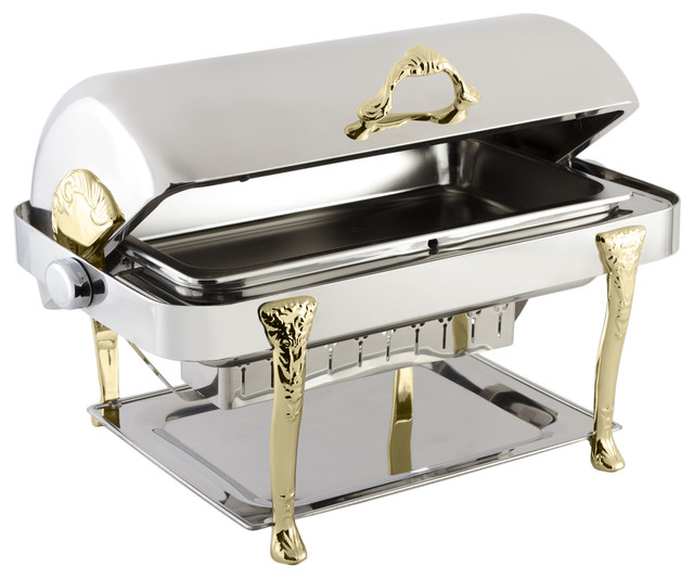 Stainless Steel Rectangular Chafer With Renaissance Legs.