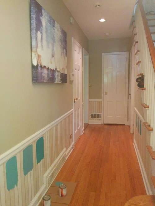 Different Paint Shade Below Chair Rail In Foyer