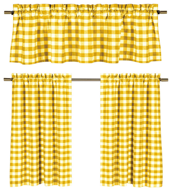 Lemon Yellow White Gingham Kitchen Curtain Set, 3 Piece.