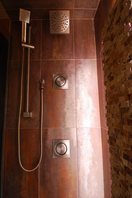 Superb Multi Head Shower System, Rustic Meets Contemporary With Creative Lighting  Rustic