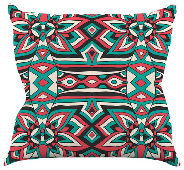 pom graphic design ethnic floral mosaic teal red throw pillow 16x16 - Red Decorative Pillows