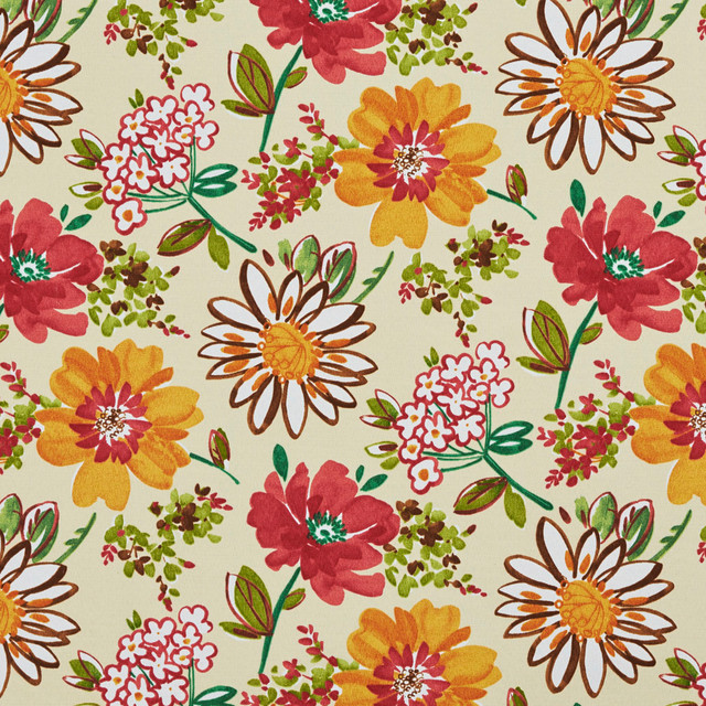 Yellow Red Green Contemporary Flowers Leaves Outdoor Fabric By The Yard