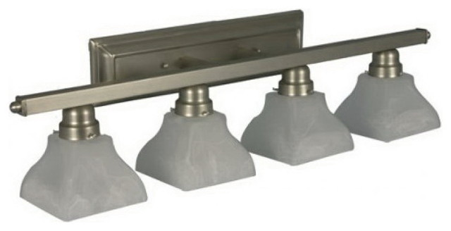 Square Glass Vanity Light : Satin Nickel And Square Alabaster Glass 4 Light Vanity Bath Wall - Transitional - Bathroom ...