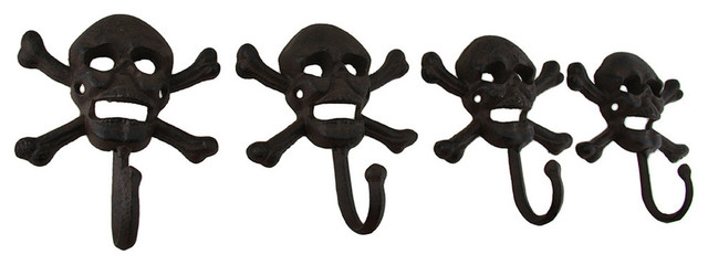 Rustic Cast Iron Skull And Bones Decorative Wall Hooks, Set Of 4 Eclectic  Wall