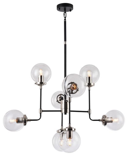 Polished Nickel, Black Frame Light Fixture, Clear Glass Globe Shades