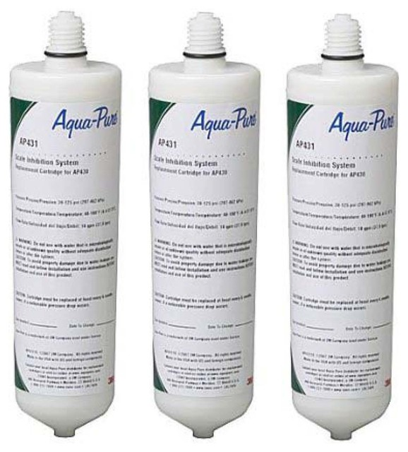 3-Pack Aqua-Pure AP431 3M Cuno Scale Inhibition Replacement Cartridges