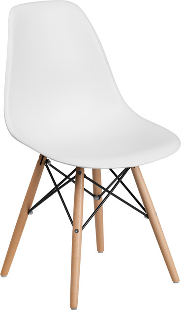 Elon Series White Plastic Chair With Wood Base.