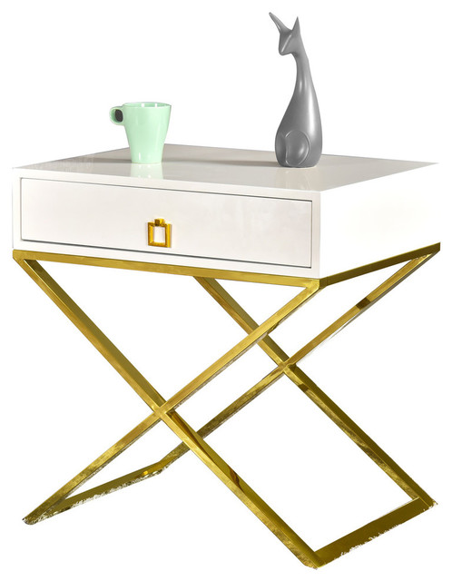 Juneau Modern White Cross Leg End Table, Gold