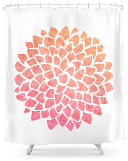 Coral Sea Glass Dahlia Shower Curtain