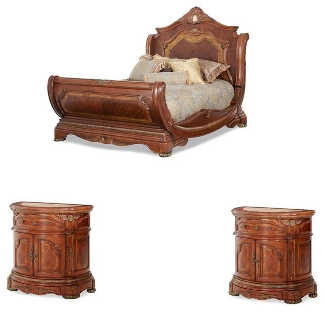 Cortina Sleigh Bedroom Set, 3-Piece Set