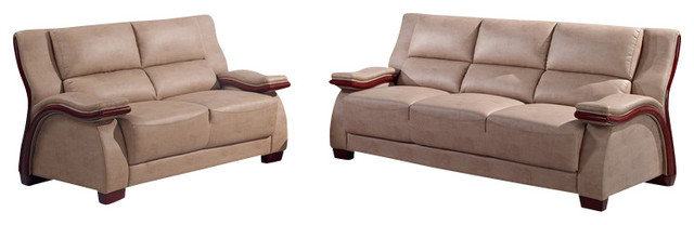 UA1411 Beige Bonded Leather Three Piece Sofa Set With Mahogany Wood Trim
