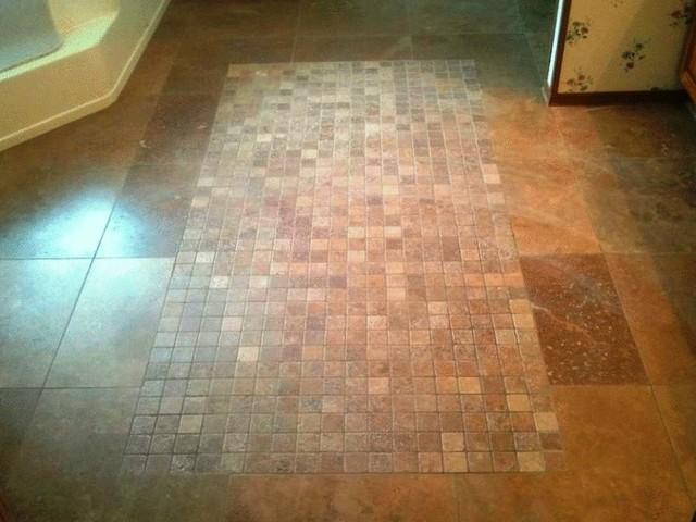 Travertine Bathroom Floor travertine bathroom floor pattern - traditional - little rock -