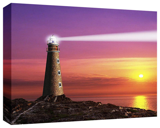 Lighthouse At Sunset, 9x11x1 by ONSIA
