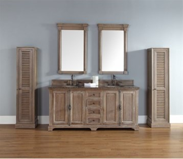 """Providence 72"""" Double Vanity Cabinet, Driftwood."""