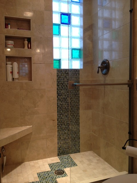 Bathroom Remodel Custom Marble Tile Amp Colored Glass Block