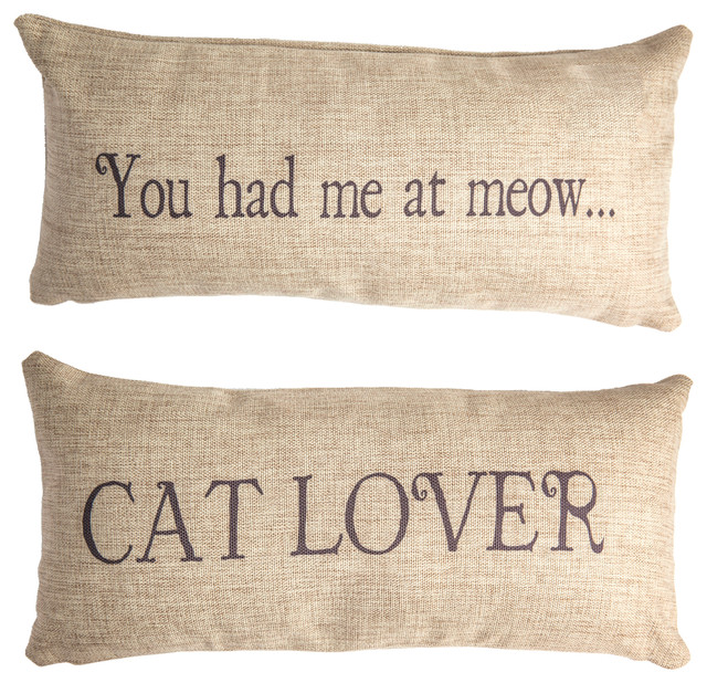 Meow Cat Lover Double Sided Pillow With Removable Leopard Print Pin.