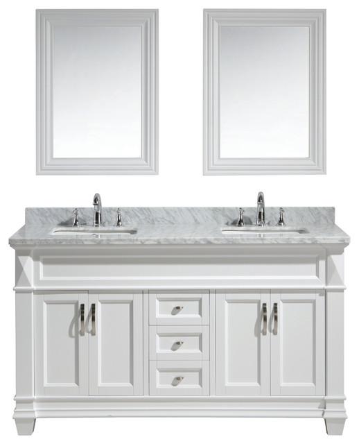 Hudson 61 Double Sink Vanity Set, White With White Carrara Marble Countertop.