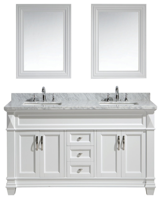 Hudson 61 Double Sink Vanity Set White With Carrara Marble Countertop Traditional Bathroom Vanities And Consoles By First Look Bath
