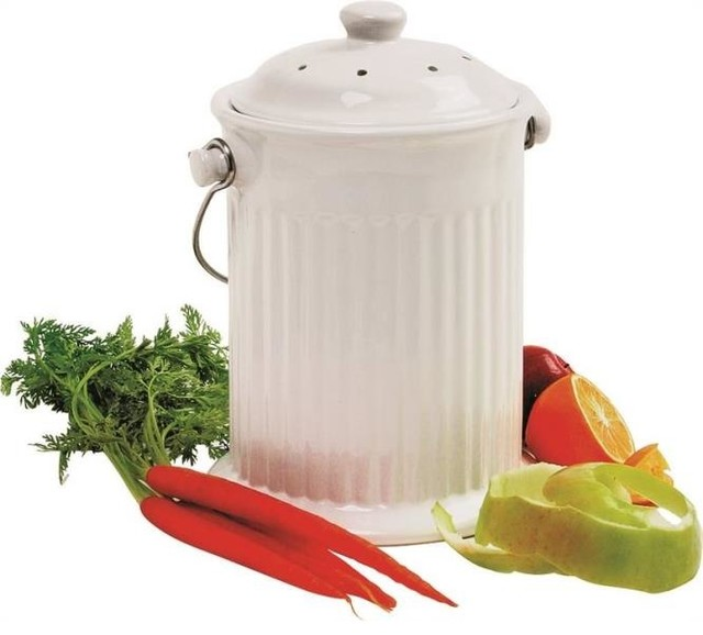 Ceramic compost crock modern compost bins by for Ceramic bathroom bin