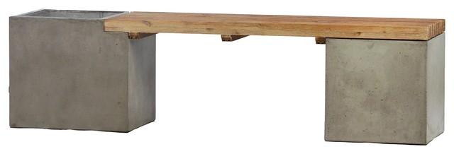 Tremendous 67 L Adalgisa Bench With Planter Right Lightweight Concrete Oak Slat Seating Beatyapartments Chair Design Images Beatyapartmentscom