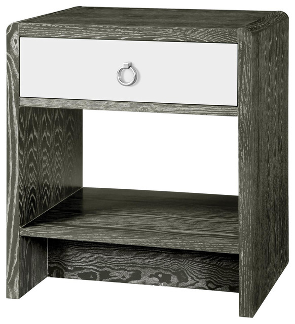 Modern Nightstands luce modern classic silver limed gray lacquer nightstand - modern