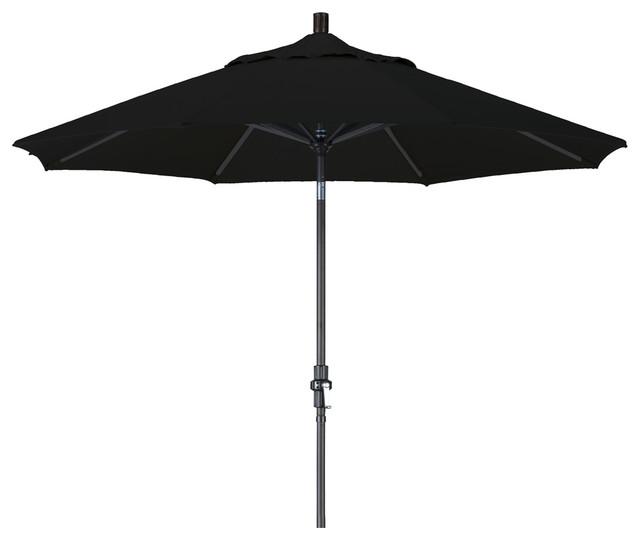 9 Foot Olefin Fabric Aluminum Crank Lift Collar Tilt Patio Umbrella, Black Pole.